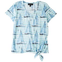 Onque Petite Sailboat Printed Short Sleeve Top