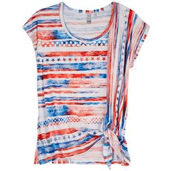 Onque Petite Red White And Blue Short Sleeve Top