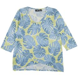 Onque Casual Petite Mid Sleeve Palm Tree Print Top