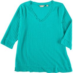 Coral Bay Petite Rib Knit 3/4 Sleeve Top
