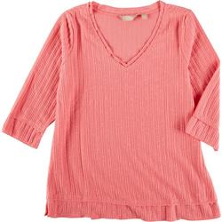 Petite Solid V-Neck 3/4 Sleeve Top
