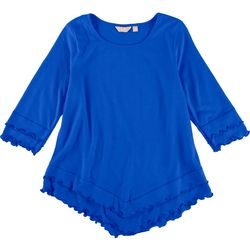 Coral Bay Petite Solid Lettuce Trim 3/4 Sleeve  Top