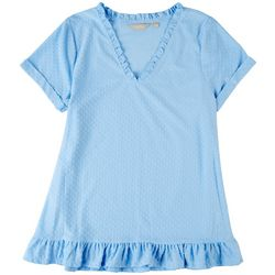 Coral Bay Petite Dotted Frill Short Sleeve