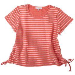 Emily Daniels Petite Striped Tie Side Top