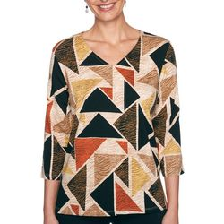 Alfred Dunner Petite Triangle Spice V-Neck Sleeve Top