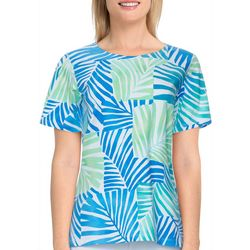 Alfred Dunner Petite Palm Patch Short Sleeve Top