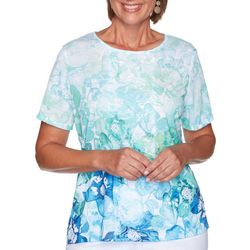 Alfred Dunner Petite Flower Ombre Short Sleeve Top