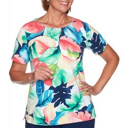 Alfred Dunner Petite Tropical Print Short Sleeve Top