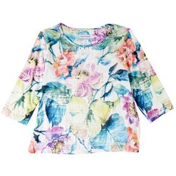 Alfred Dunner Petite Center Lace Floral Print 3/4 Sleeve Top