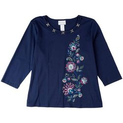 Alfred Dunner Petite Side Floral Embroisered 3/4 Sleeve Top