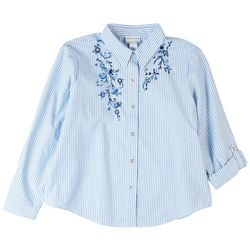 Alfred Dunner Petite Embroidered Pinstripe 3/4 Sleeve Top