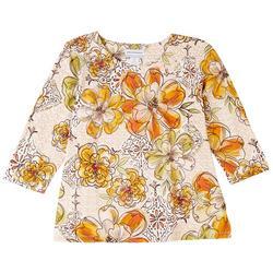 Petite Floral Print 3/4 Sleeve Top