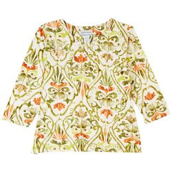 Alfred Dunner Petite Embellished Print 3/4 Sleeve Top
