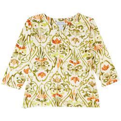 Petite Embellished Print 3/4 Sleeve Top