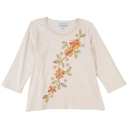 Alfred Dunner Petite Floral Embroidery Top