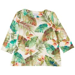 Alfred Dunner Petite Tropical Print 3/4 Sleeve Top