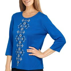 Alfred Dunner Petite Center Embroidered 3/4 Sleeve Top