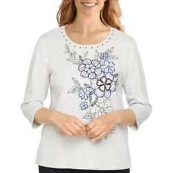 Alfred Dunner Petite Embroidery 3/4 Sleeve Top