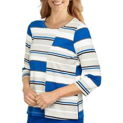 Alfred Dunner Petite Mixed Striped 3/4 Sleeve Top
