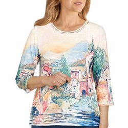 Alfred Dunner Petite Scenic Cutout 3/4 Sleeve Top