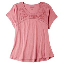 Coral Bay Petite Embroidery Floral Neck Short Sleeve Top