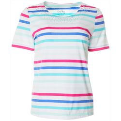 Coral Bay Petite Striped Jeweled Round Neck Short Sleeve Top