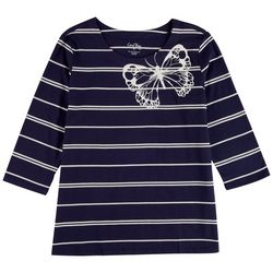 Coral Bay Petite Butterfly 3/4 Sleeve Top
