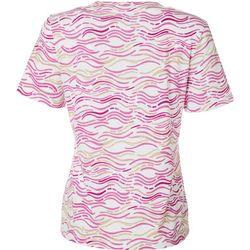 Coral Bay Petite Wavy Stripe Short Sleeve Top