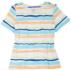 Coral Bay Petite Printed Striped Short Sleeve Top