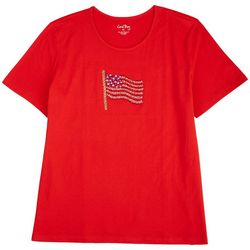 Coral Bay Petite Embellished American Flag Top