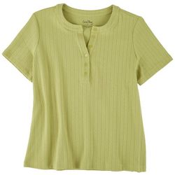 Coral Bay Petite Waffle Knit Henley Top