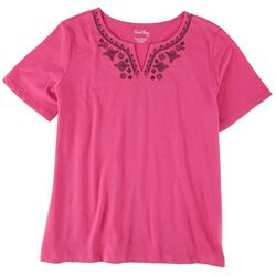 Coral Bay Petite Neck Embroidery Top