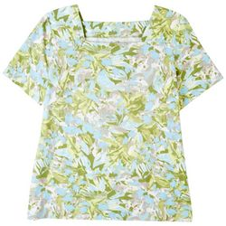 Coral Bay Petite Tropical Squared Neck Short Sleeve Top