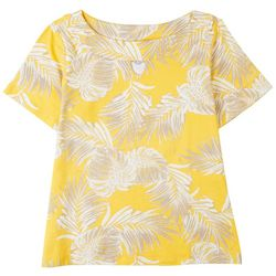 Coral Bay Petite Boat Neck Tropical Short Sleeve Top