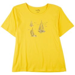 Coral Bay Petite Embroidered Boat Sunset Short Sleeve Top