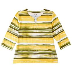 Coral Bay Petite Painted Stripes 3/4 Sleeve Top