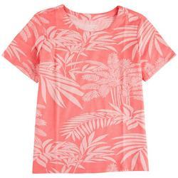 Petite Summer Foliage Short Sleeve Top