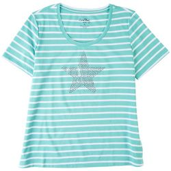 Coral Bay Petite Striped Round Neck Short Sleeve