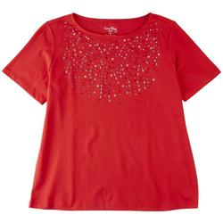 Petite Solid Color Embellished Chest Top