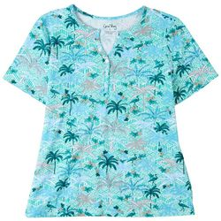 Coral Bay Petite Tropical Notch Henley Short Sleeve Top