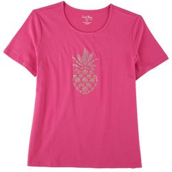 Coral Bay Petite Pine Apple Short Sleeve Top