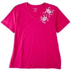 Coral Bay Petite Short Sleeve Top Turtle Neck Detail
