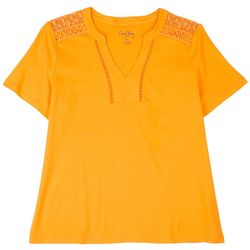 Coral Bay Petite Solid V-Neck Cutout Short Sleeve Top