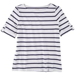 Coral Bay Petite Striped Cuffed Short Sleeve Top
