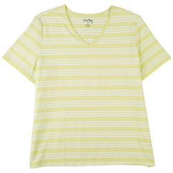 Coral Bay Womens Striped V-Neck Short Sleeve Top