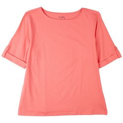 Coral Bay Petite Boat Neck Short Sleeve Top