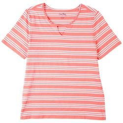 Coral Bay Petite Striped Cutout Short Sleeve Top