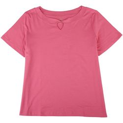 Coral Bay Petite Twisted Neckline Short Sleeve Top