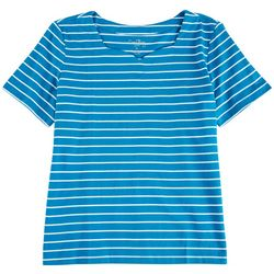 Coral Bay Petite Sweetheart Neck Striped Top
