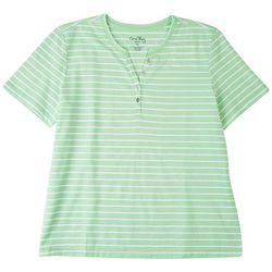 Coral Bay Petite Striped V-Neck T-Shirt 1/4 Button Down